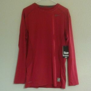 NIKE Red Pro Combat Dri-Fit Fitted Long Sleeve